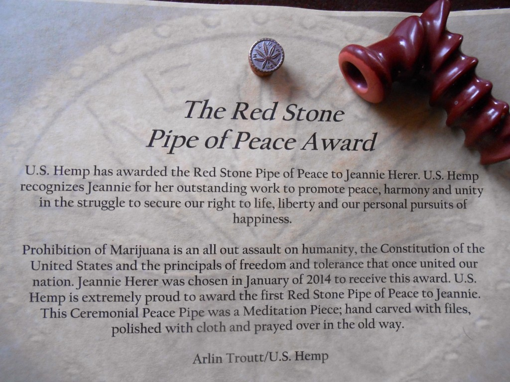 Red Stone Peace Award to Jeannie Herer